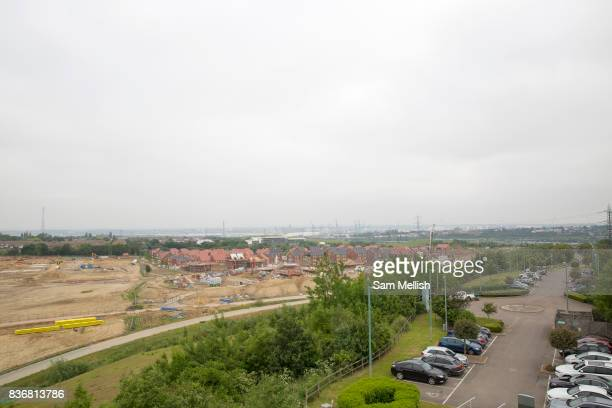 Ebbsfleet Garden City and eastern quarry where new homes are being built in Castle Hill area on 09th July 2016 in Kent United Kingdom Ebbsfleet...