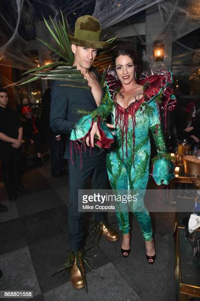 Eben Burr and Jen Kellogg attend Heidi Klum's 18th Annual Halloween Party presented by Party City and SVEDKA Vodka at Magic Hour Rooftop Bar Lounge...