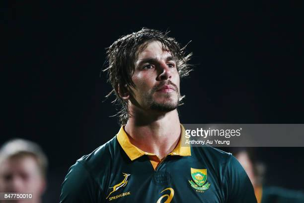 Eben Etzebeth of South Africa looks on after the Rugby Championship match between the New Zealand All Blacks and the South African Springboks at QBE...