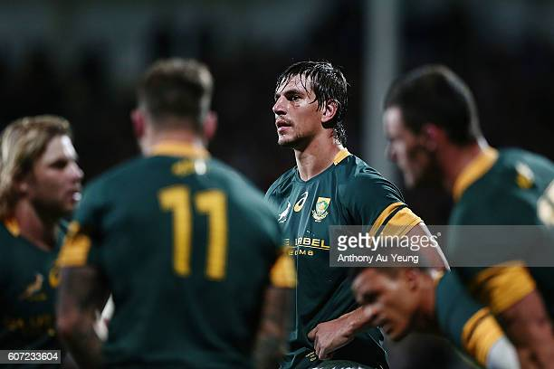Eben Etzebeth of South Africa looks on during the Rugby Championship match between the New Zealand All Blacks and the South Africa Springboks at AMI...