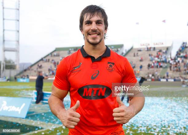 Eben Etzebeth of South Africa pose for a photo after winning the round two match between Argentina and South Africa as part of The Rugby Championship...