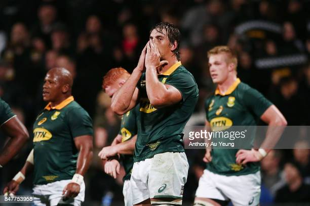 Eben Etzebeth of South Africa reacts during the Rugby Championship match between the New Zealand All Blacks and the South African Springboks at QBE...