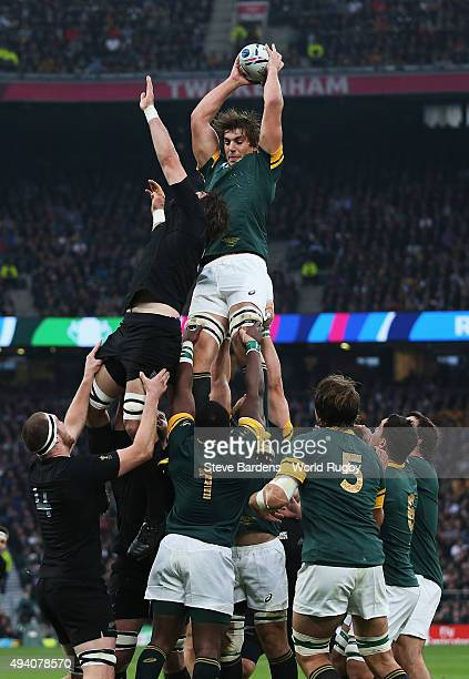 Eben Etzebeth of South Africa wins a lineout during the 2015 Rugby World Cup Semi Final match between South Africa and New Zealand at Twickenham...