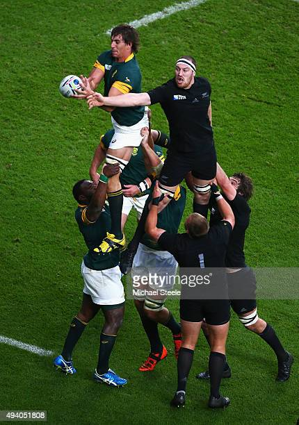 Eben Etzebeth of South Africa wins a the lineout from Brodie Retallick of the New Zealand All Blacks during the 2015 Rugby World Cup Semi Final match...