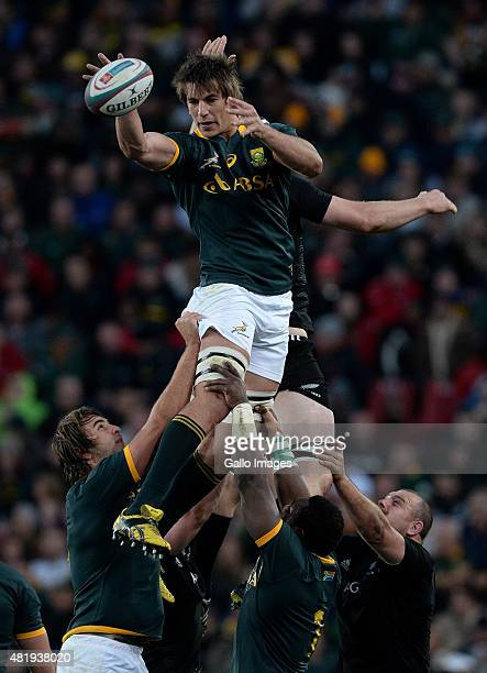 Eben Etzebeth of South Africa wins the lineout during The Castle Lager Rugby Championship 2015 match between South Africa and New Zealand at Emirates...