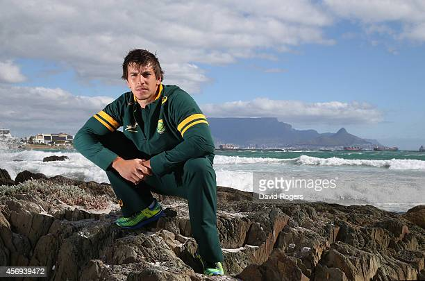Eben Etzebeth of the South African Springboks poses at Bloubergstrand on October 9 2014 in Cape Town South Africa