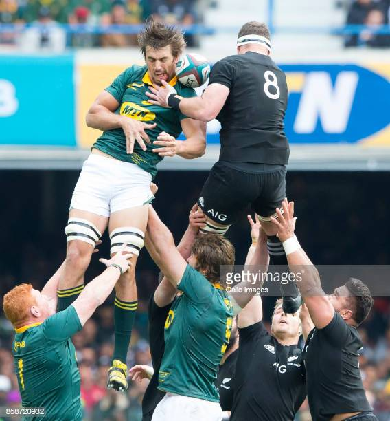 Eben Etzebeth of the Springbok Team and Kieran Read of New Zealand during the Rugby Championship 2017 match between South Africa and New Zealand at...
