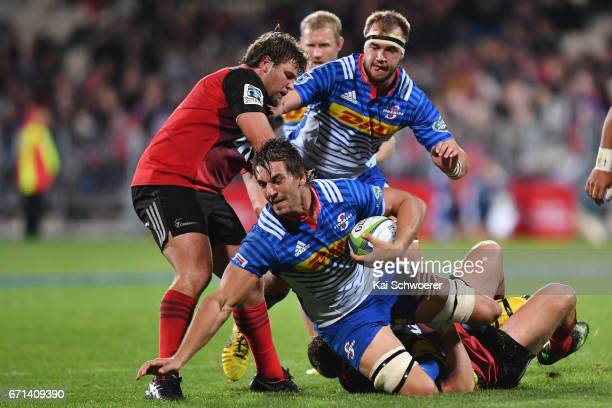 Eben Etzebeth of the Stormers is tackled during the round nine Super Rugby match between the Crusaders and the Stormers at AMI Stadium on April 22...