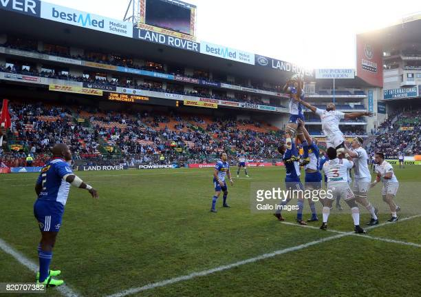 Eben Etzebeth of the Stormers takes a line out ball during the Super Rugby Quarter final between DHL Stormers and Chiefs at DHL Newlands on July 22...