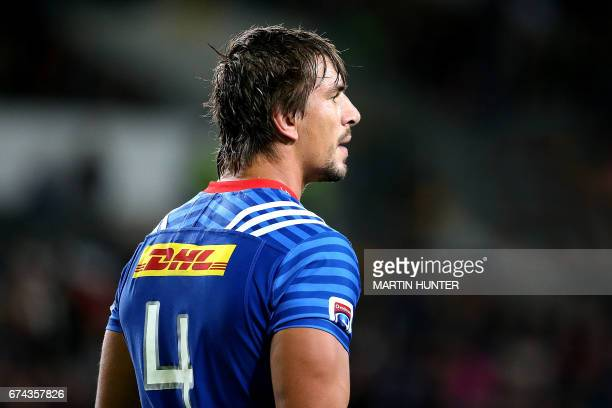 Eben Etzebeth of the Western Stormers reacts after the Super Rugby match between the Otago Highlanders of New Zealand and the Western Stormers of...
