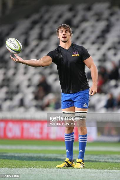 Eben Etzebeth of the Western Stormers warms up prior to the start of round ten Super Rugby match between the Otago Highlanders of New Zealand and the...