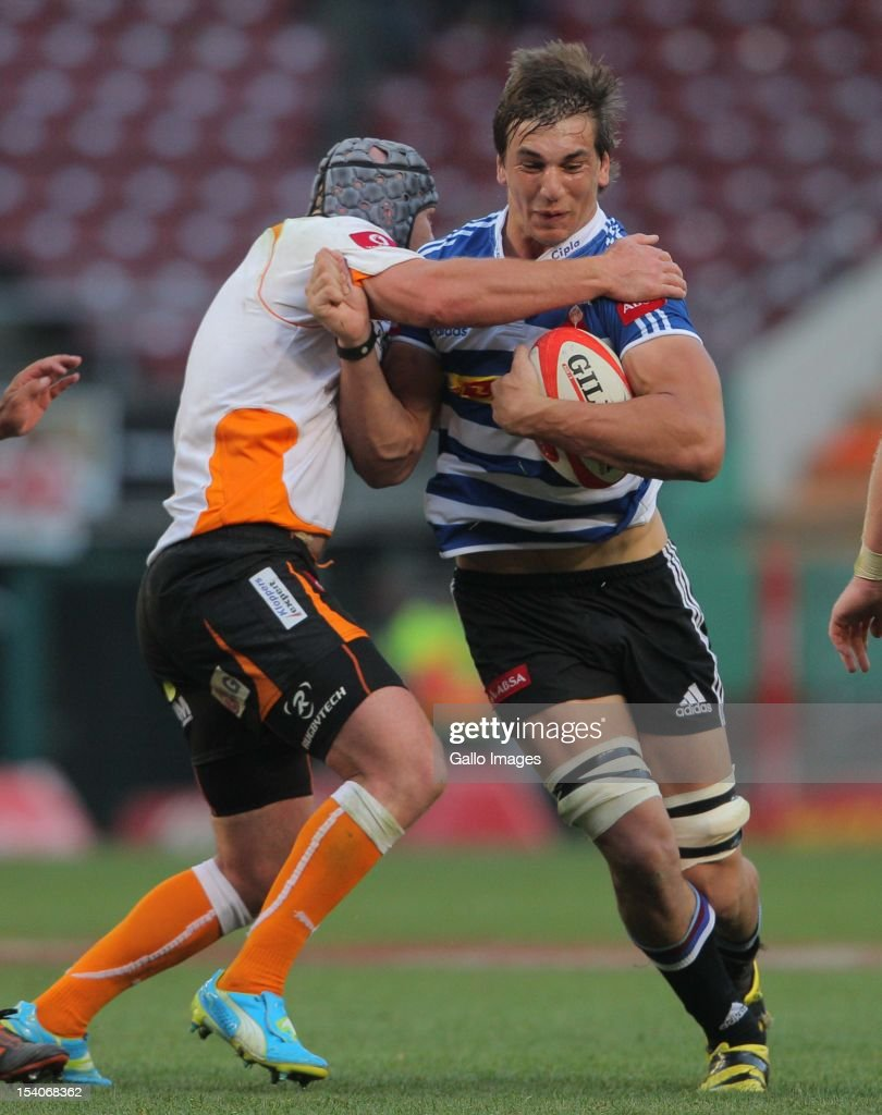 Eben Etzebeth of Western Province runs with the ball during the Absa Currie Cup match between DHL Western Province and Toyota Free State Cheetahs at...