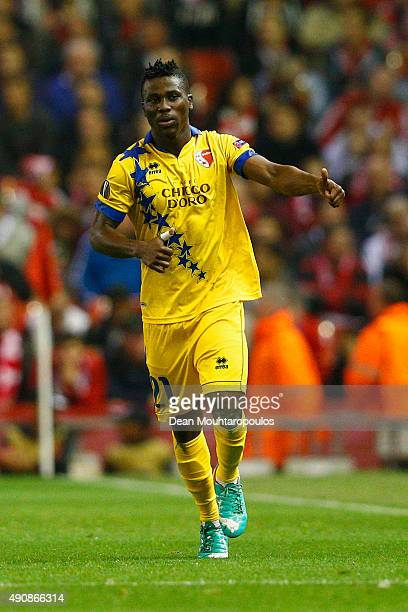 Ebenezer Assifuah of FC Sion celebrates scoring their first goal during the UEFA Europa League group B match between Liverpool FC and FC Sion at...