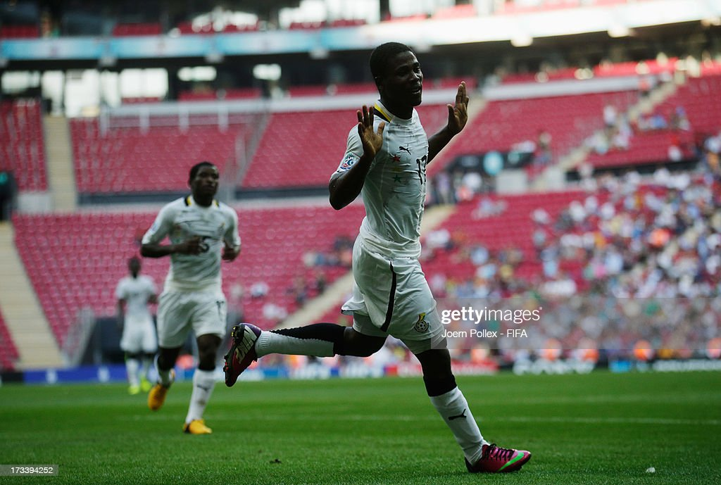 Ebenezer Assifuah of Ghana celebrates after scoring his team's second goal during the FIFA U-20 World Cup 3rd Place playoff match between Ghana and Iraq at Ali Sami Yen Arena on July 13, 2013 in Istanbul, Turkey.