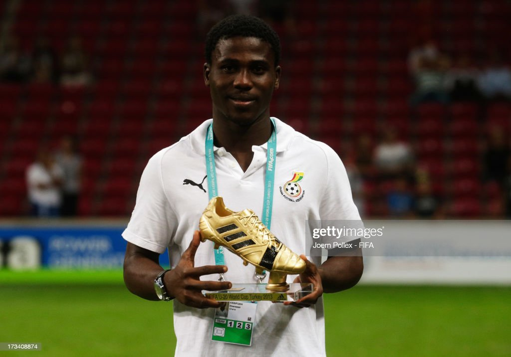 Ebenezer Assifuah of Ghana wins the adidas Golden Boot award during the FIFA U-20 World Cup Final match between France and Uruguay at Ali Sami Yen Arena on July 13, 2013 in Istanbul, Turkey.