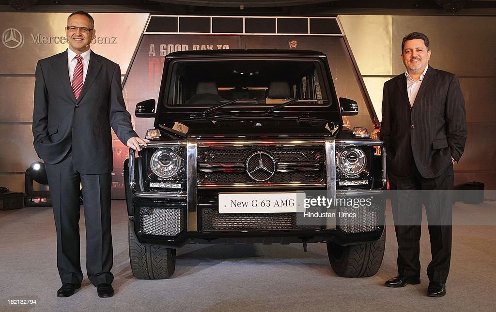 Eberhard Kern, Managing Director and CEO, Mercedes-Benz India with Vijay Singh, CEO, Fox Star Studio India launch G63 AMG SUV at Bandra, on February 19, 2013 in Mumbai, India. Priced at Rs 1.45 crore (ex-showroom Mumbai), G63 AMG will replace the G55 AMG that was launched two years ago.