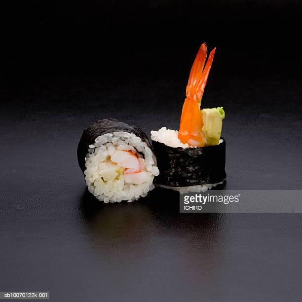 Ebi Avocado Nigiri Sushi on black background
