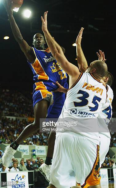 Ebi Ere of the Kings drives to the basket during Game three of the NBL Finals series between the Sydney Kings and the West Sydney Razorbacks played...