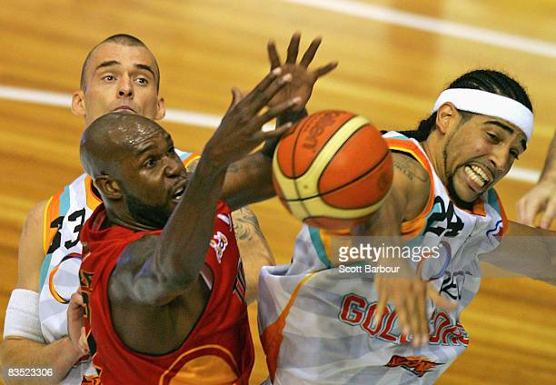 Ebi Ere of the Tigers and Luke Whitehead of the Blaze in action during the round seven NBL match between the Melbourne Tigers and the Gold Coast...