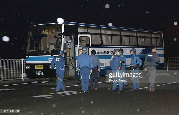Ebino Japan Photo taken in the early hours of May 12 shows an intercity bus that was hijacked the previous night by a man holding scissors in...