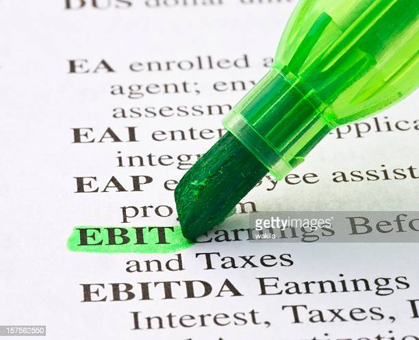 ebit definition highligted in dictionary