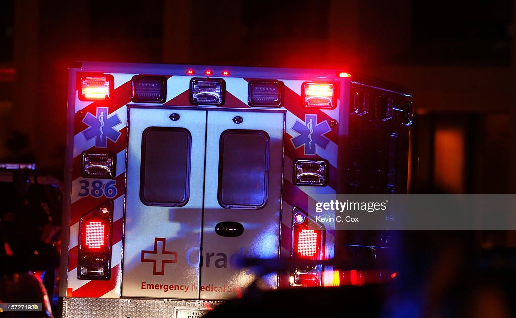 Ebola patient Amber Vinson arrives by ambulance at Emory University Hospital on October 15 2014 in Atlanta Georgia Nurse Amber Vinson joins Nina Pham...