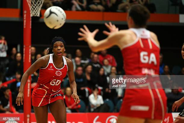Eboni BeckfordChambers of England passes the ball during the International netball Test match between the New Zealand Silver Ferns and England on...