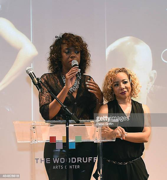 Eboni Elektra and Tameka 'Tiny' Harris onstage at The Live Die For Hip Hop Black Out Gala at Woodruff Arts Center on September 6 2014 in Atlanta...
