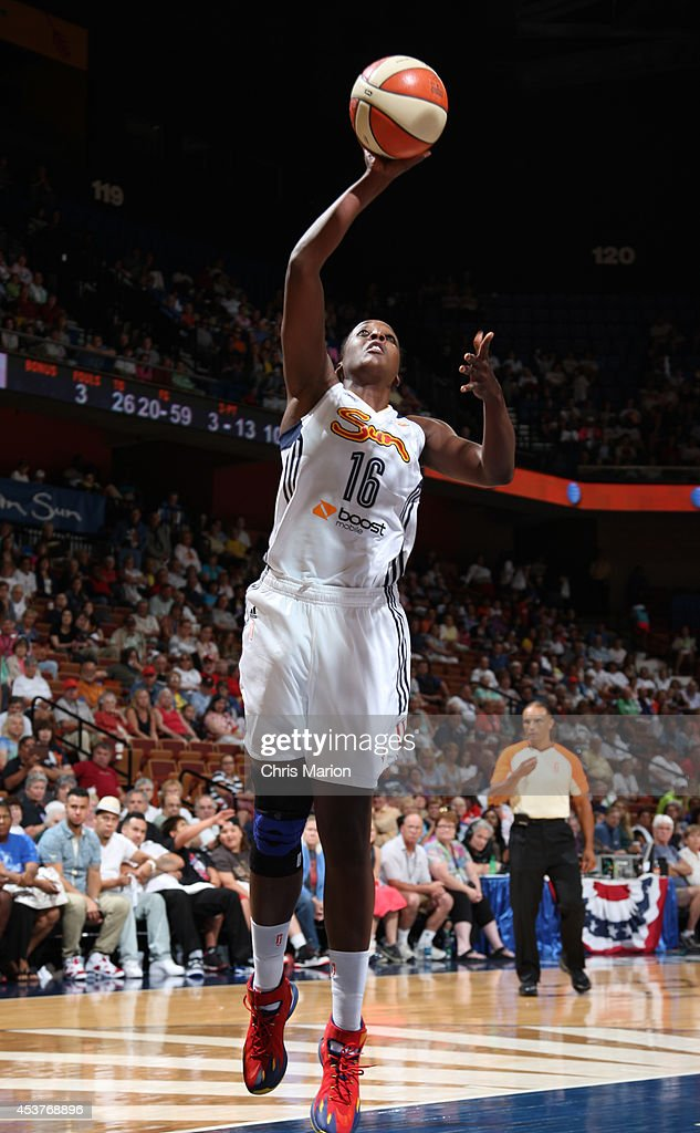 Ebony Hoffman #16 of the Connecticut Sun drives to the basket against the Atlanta Dream during a game at the Mohegan Sun Arena on August 17, 2014 in Uncasville, Connecticut.