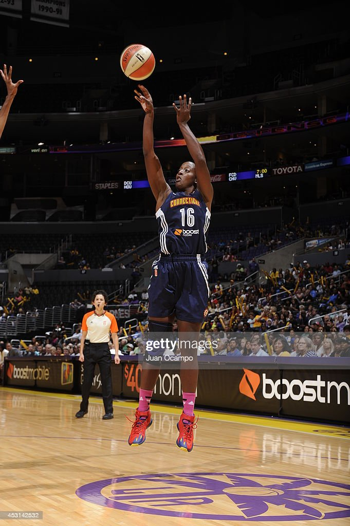 Ebony Hoffman #16 of the Connecticut Sun shoots the ball against the Los Angeles Sparks at STAPLES Center on August 3, 2014 in Los Angeles, California.