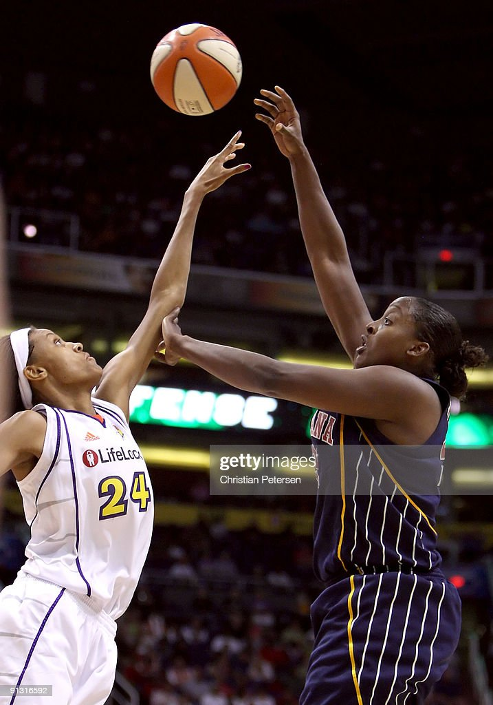 Ebony Hoffman #32 of the Indiana Fever puts up a shot over DeWanna Bonner #24 of the Phoenix Mercury in Game Two of the 2009 WNBA Finals at US Airways Center on October 1, 2009 in Phoenix, Arizona. The Fever defeated the Mercury 94-83 to tie the series at 1-1.