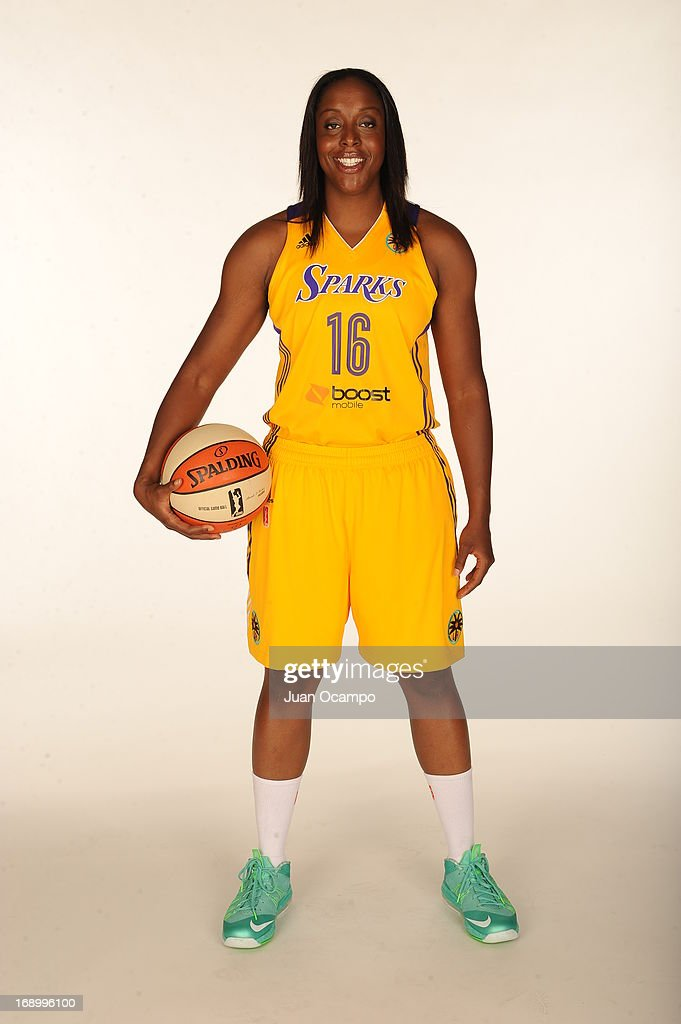 Ebony Hoffman #16 of the Los Angeles Sparks poses for a photo during the Los Angeles Sparks Media Day on May 17, 2013 at St. Mary's School in Inglewood, California.
