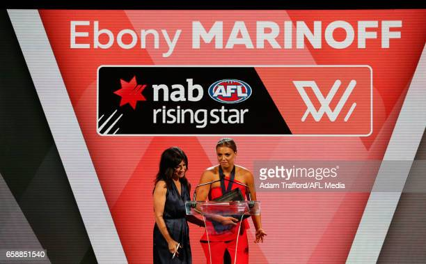 Ebony Marinoff of the Crows is presented with her Rising Star medal during the The W Awards at the Peninsula on March 28 2017 in Melbourne Australia