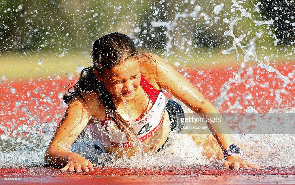 Ebony Webb of Tasmania trips into the water in the Women's 2000 meter Steeplechase during the Briggs Athletics Classic on February 13, 2016 in Hobart, Australia.