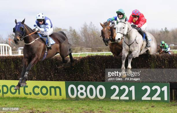 Eborarry and jockey Brian Harding beats Whatcanyasay and James Reveley to win the Book Tickets on Line at Catterick Racecourse Yorkshire