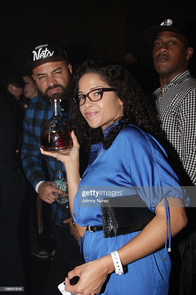 Ebro, Elaine Hamilton and Richard McLeod attend the D'USSE cognac launch party at LIV nightclub at Fontainebleau Miami on December 9, 2012 in Miami Beach, Florida.