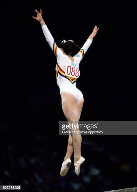Ecaterina Szabo of Romania gold medalist in the Team AllAround Balance beam Floor exercise and Vault gymnastics events during the Summer Olympic...