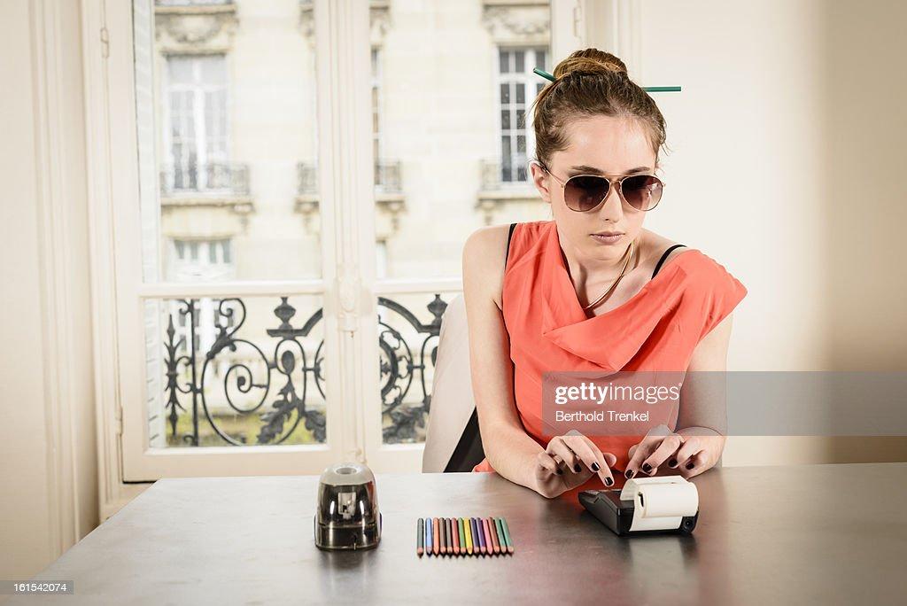 Eccentric secretary : Stock Photo