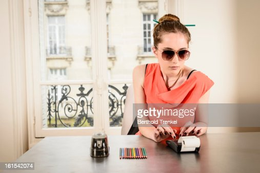 Eccentric secretary : Stock Photo