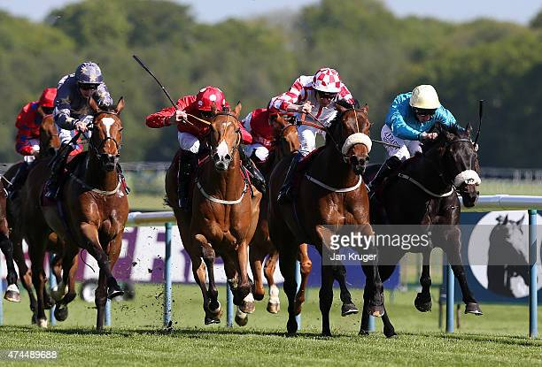 Eccleston ridden by Daniel Tudhope wins the Betfred 'Still Treble Odds On Lucky 15's' Handicap Stakes at Haydock racecourse on May 23 2015 in Haydock...
