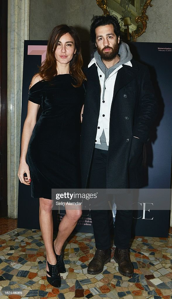 Ece Sukan and Umit Benam attend Deborah Needleman's New York Times inaugural issue party during Milan Fashion Week Womenswear Fall/Winter 2013/14 on February 23, 2013 in Milan, Italy.