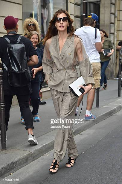 Ece Sukan is seen arriving at Elie Saab Fashion Show during Paris Fashion Week Haute Couture Fall/Winter 15/16 Day Four on July 8 2015 in Paris France