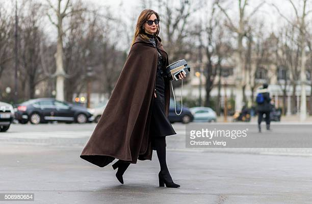 Ece Sukan outside Chanel during the Paris Fashion Week Haute Couture Spring/Summer 2016 on January 26 2016 in Paris France