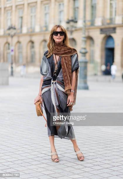 Ece Sukan outside Schiaparelli during Paris Fashion Week Haute Couture Fall/Winter 20172018 Day Two on July 3 2017 in Paris France
