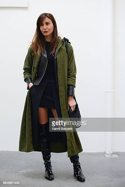Ece Sukan poses wearing a vintage coat on March 1 2015 in Milan Italy