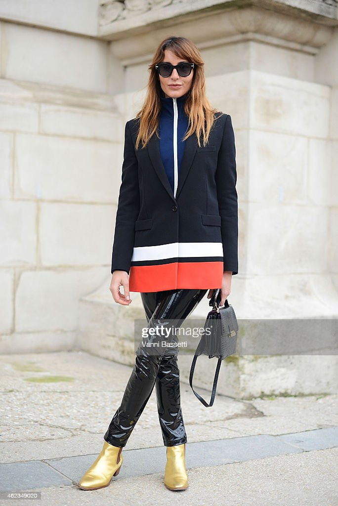 Ece Sukan poses wearing Givenchy jacket and St. Laurent shoes during day 3 of Paris Haute Couture Spring Summer 2015 on January 27, 2015 in Paris, France.