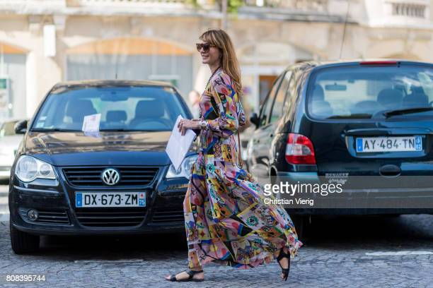 Ece Sukan wearing dress with print outside Ulyana Sergeenko during Paris Fashion Week Haute Couture Fall/Winter 20172018 Day Three on July 4 2017 in...