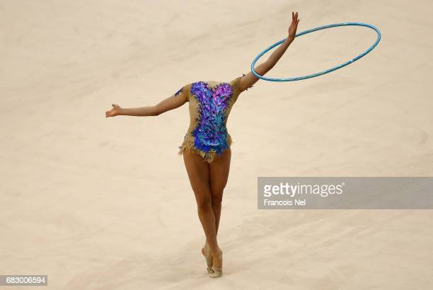 Ecem Cankaya of Turkey competes in the Women's Hoop Final during day three of Baku 2017 4th Islamic Solidarity Games at the National Gymnastics Arena...