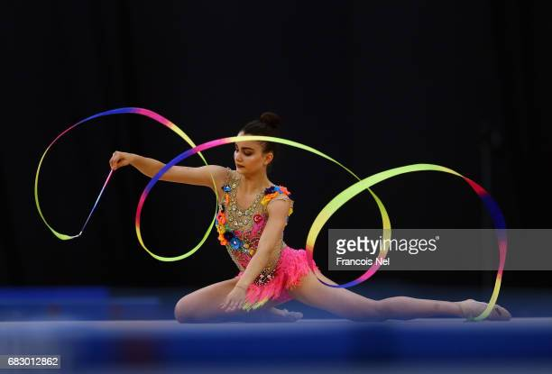 Ecem CAnkaya of Turkey competes in the Women's Ribbon Final during day three of Baku 2017 4th Islamic Solidarity Games at the National Gymnastics...