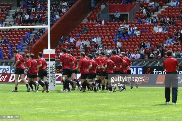 Echauffement des toulousains sous le regard de Guy NOVES Stade Francais / Toulouse Top 16 Rugby